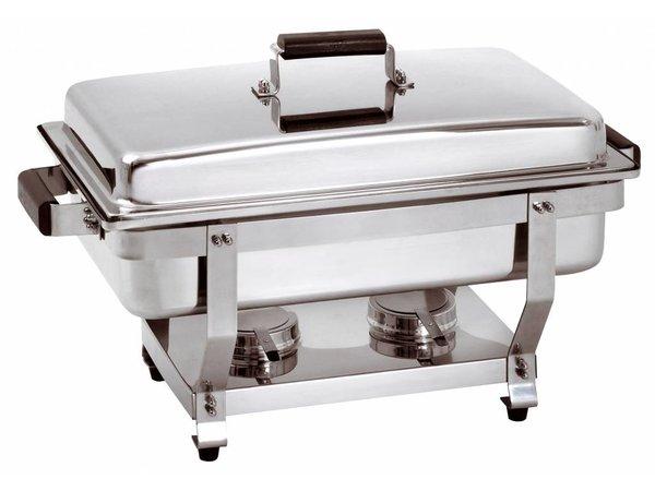 Bartscher Chafing Dish GN 1/1 | Griff in Holz Farbe | Verschlussdeckel Baar | 620x350x (H) 385mm