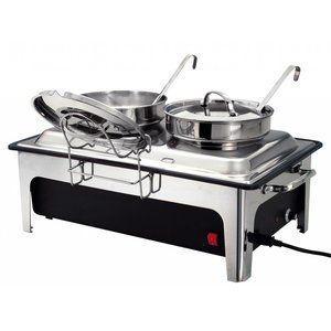 Bartscher Elektrische Soep Chafing Dish   Chroomnikkelstaal   Inclusief 2x4 Liter Soeppannen   630x360x(H)460mm