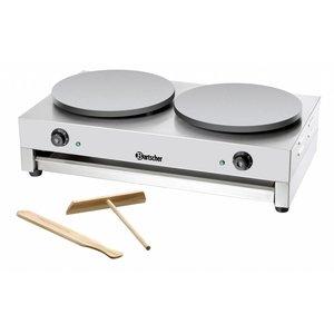 Bartscher Crepes Doppel Griddle | Professional / Elektrotechnik | 2 x 3000 W / 230 V | 40 cm Durchmesser