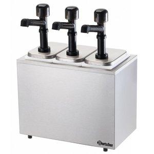 Bartscher Komplette sausdispencer mit drei Pumpen - 3 x 3,3 Liter