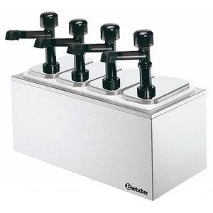Bartscher Complete sausdispencer met 4 pompen - 4 x 3,3 liter