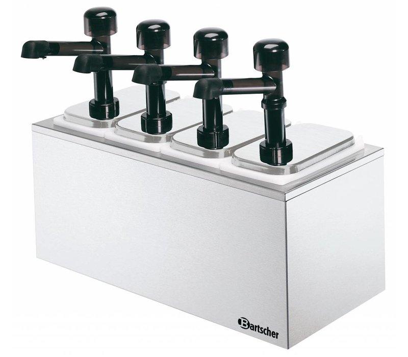 Bartscher Komplette sausdispencer mit vier Pumpen - 4 x 3,3 Liter