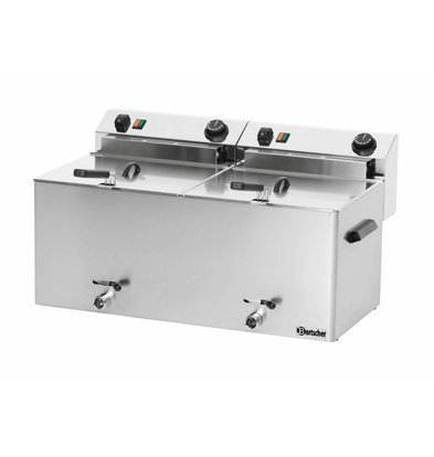 Bartscher Electric Double-Fryer | With drain valves 2 x 10 liters | 400V | 16,2kw | 750x450x (H) 375 mm