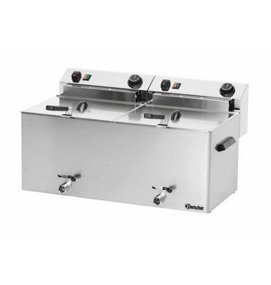 Bartscher Elektrische Dubbele-Friteuse | Met aftapkranen 2 x 10 liter | 400V | 16,2kw | 750x450x(H)375 mm