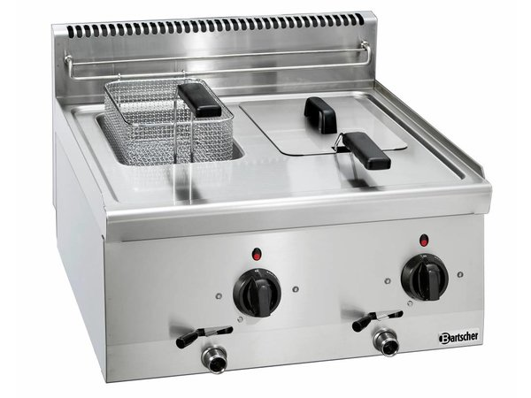 Bartscher Electric Fryer | With Fixed Heater | 2 x 6 Liter | Series 600 | 400V | 6,6kW | 600x600x (H) 290mm