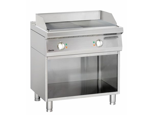 Bartscher Electric griddle - Smooth / Ribbed - 80x70x (h) 85 / 90cm - Open substructure - 400V / 10kW