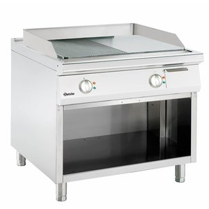 Bartscher Electric griddle - Smooth / Ribbed - 90x90x (h) 85 / 90cm - Open substructure - 400V / 13,2kW
