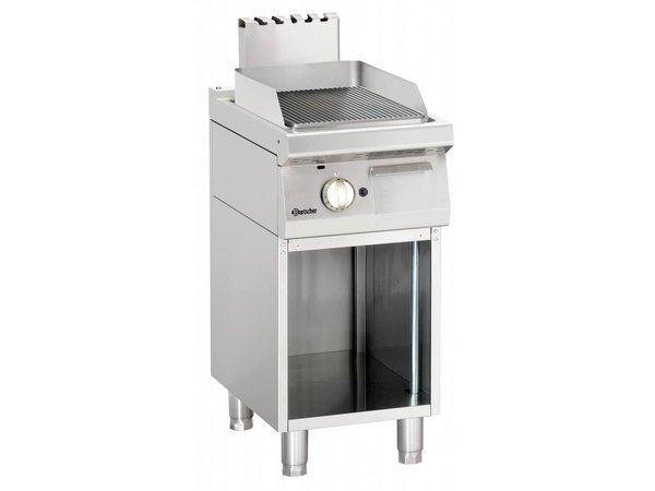 Bartscher Gas Griddle Ribbed, 40x70x (H) 85-90 cm - Open substructure - 7 Kw