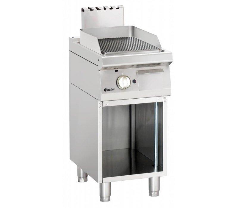 Bartscher Gas Grillplatte gerippt, 40x70x (H) von 85 bis 90 cm - Open Unterbau - 7 kW