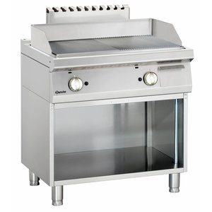 Bartscher Gas Fry Top Smooth / Ribbed, 72,7x50,4cm - Open substructure - 80x70x (H) 85-90 cm - 14 KW