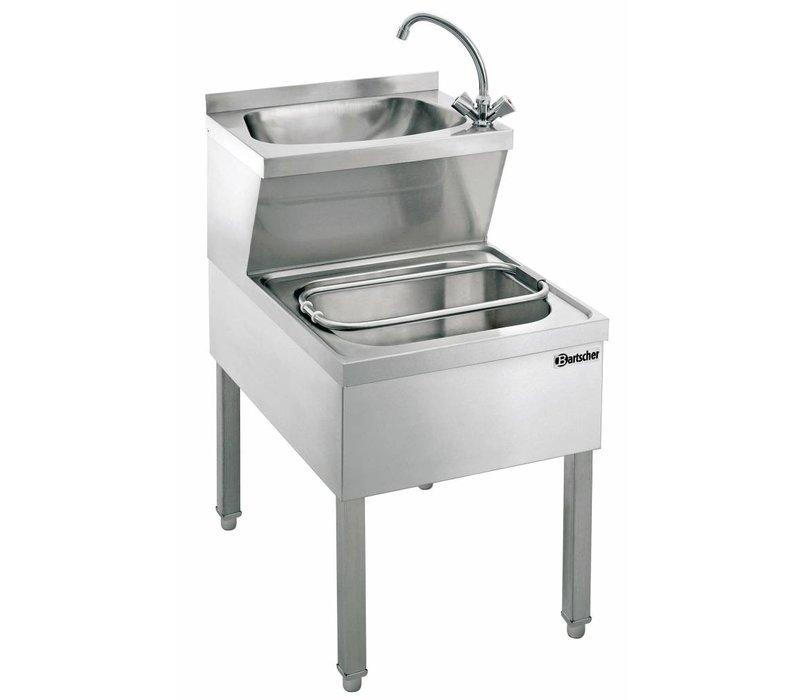 Bartscher Edelstahl-Handwaschbecken Combined | Ausguss | 510x700x (H) 850 mm