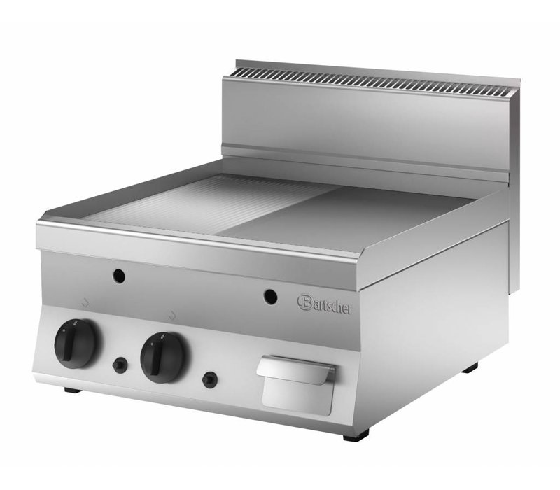 Bartscher Gas griddle - smooth half - half ribbed - 60x65x (H) 29.5 cm - 10 Kw