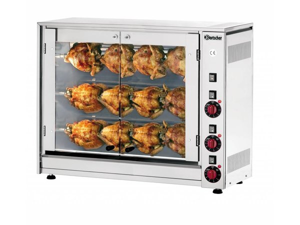 Bartscher Electric Chicken Grill - 3 Spits - 880x430x (h) 710mm - 5 KW - 12 Hens
