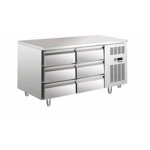 Bartscher Koelwerkbank - RVS - 140x70x (h) 85-6 x 1/1 GN trays