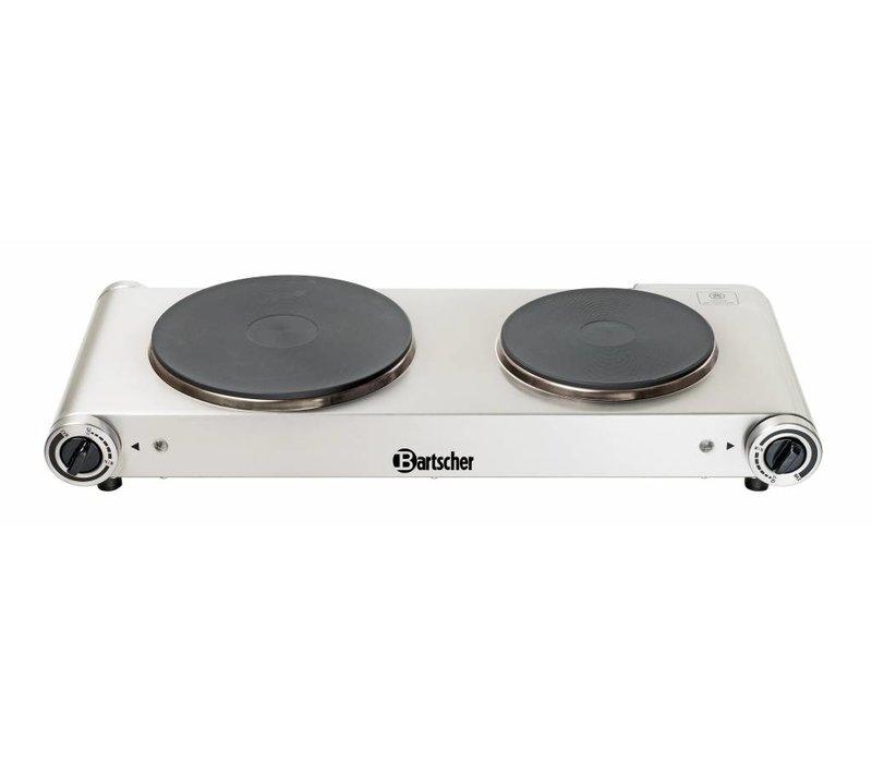 Bartscher Kooktoestel | 2 kookplaten | Chroomnikkelstaal | 2,5 kW / 230 V | 535x225x(H)90 mm