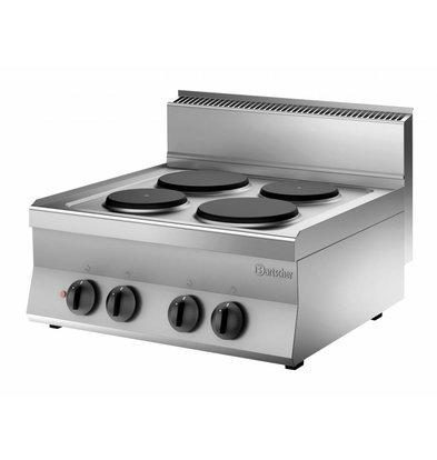 Bartscher Kooktoestel met 4 Elektrischekookplaten | 8,2 kw | 700x650x(H)295mm