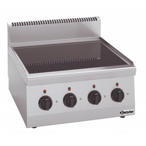 Bartscher Ceramic Cooker | With four Zones | Series 600 | 8 kw | 600x600x (H) 290 mm