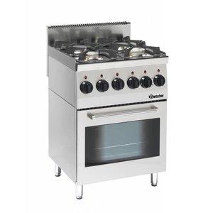 Bartscher Gasfornuis 4 Pits + Elektrische Oven + Grill   Serie 600   230V   600x600x(H)900mm