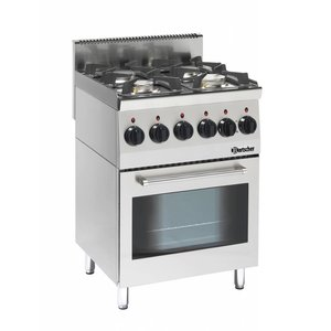 Bartscher Stove 4 Burners + Electric Oven + Grill | Series 600 | 230V | 600x600x (H) 900mm