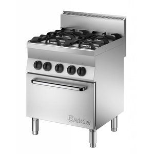 Bartscher Gas Stove 4 Burners + electric oven 1/1 GN | 400V | 700x650x (H) 870mm