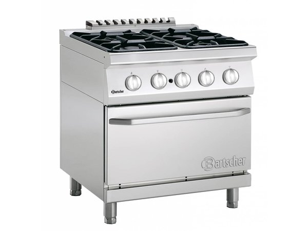 Bartscher Stove 4 Burners + Gas oven 2/1 GN 700 Series | 800x700x (H) 850-900mm