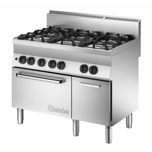 Bartscher Gas oven and stove 6 Pits + Base cupboard with Door | 1100x650x (H) 870 mm