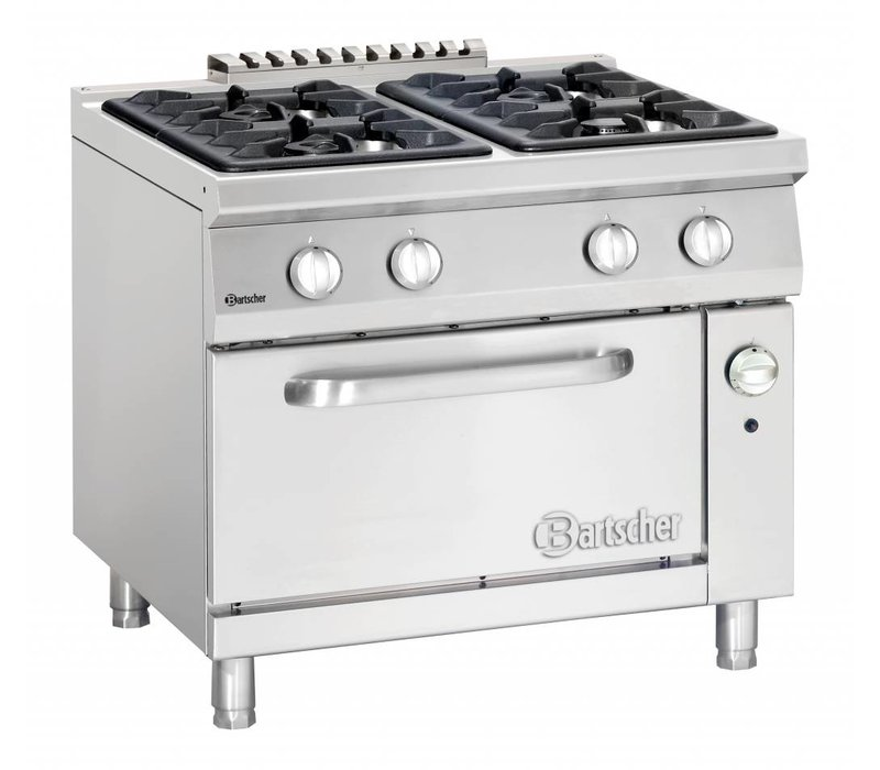 Bartscher Stove 4 Burners + Gas oven 2/1 GN | Series 900 | 900x900x (H) 850-900mm