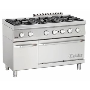 Bartscher Stove 6 Pits + Gas oven 2/1 GN | Series 700 | 1200x700x (H) 850-900mm