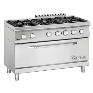 Bartscher Pits stove 6 + 1 big gas oven Series 700 | 1200x700x (H) 850-900mm