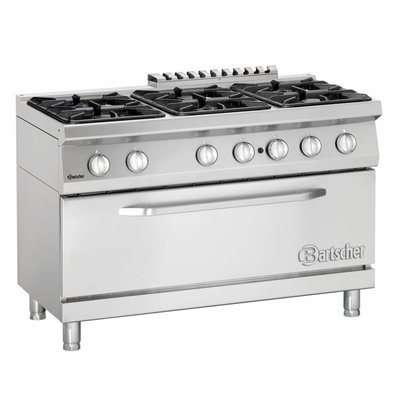 Bartscher Pits stove 6 + 1 big gas oven Series 700 | 1200x700x (H) 850-900mm
