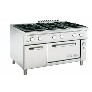 Bartscher Stove 6 Pits + Gas oven 2/1 GN 900 series | 1350x900x (H) 850-900mm