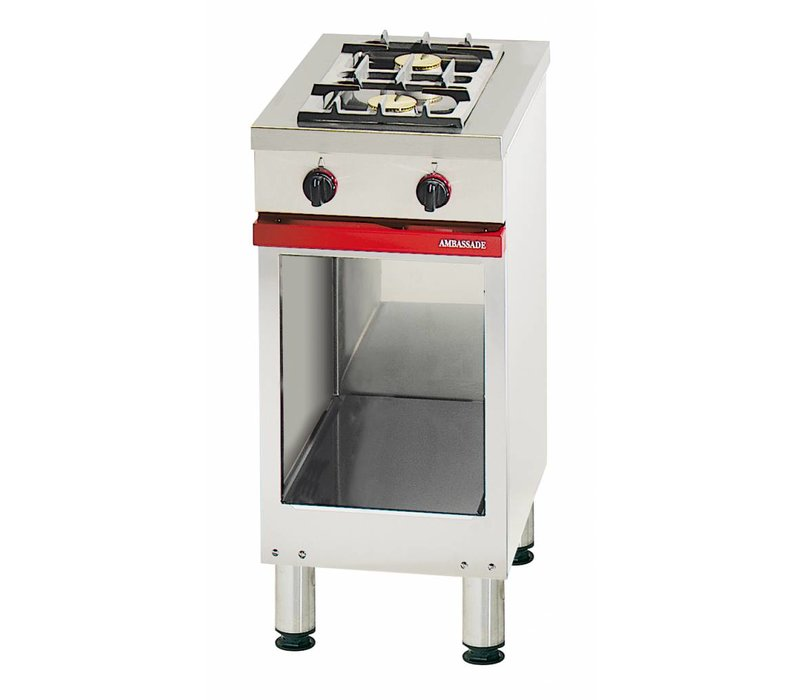 Bartscher Gas stove   2-Pits   with open base   Natural gas H   8 kW   400x650x (H) 900 mm