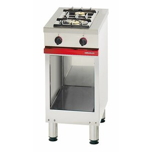 Bartscher Gas stove | 2-burner | with Substructure Open | Liquefied gas | 8 kW | 400x650x (H) 900 mm