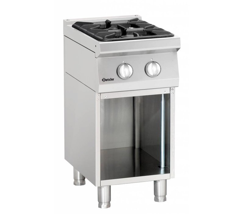 Bartscher 2-burner stove | with open base | Series 700 | 1.9 kW Gas | 400x700x (H) 850/900 mm