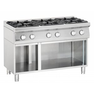 Bartscher 6-burner gas stove with open base Series 700
