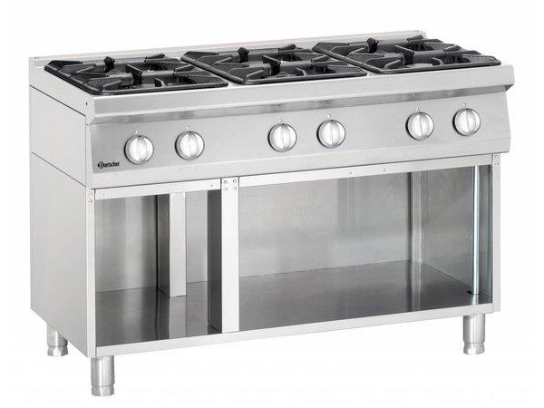 Bartscher 6-burner gas stove with open base Series 700