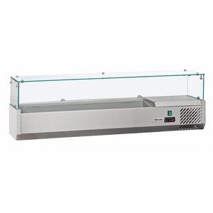 Bartscher Kühltheke mit Glasplatte - 3 x 1/2 GN oder 6 x 1/4 GN - 140x33,5x (H) 44 cm