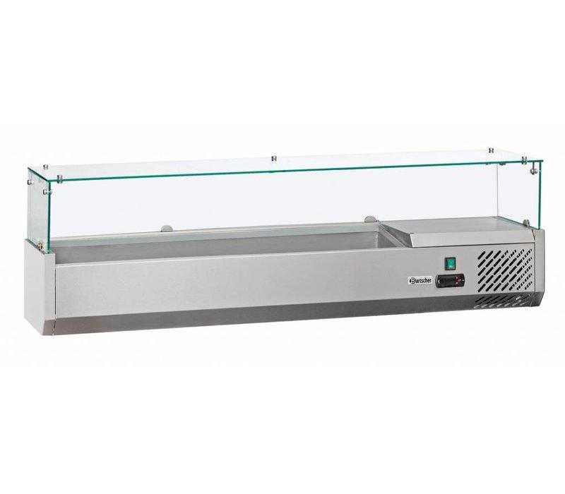 Bartscher Gekoelde opzetvitrine met Glas Top - 3x 1/2 GN of 6 x 1/4 GN - 140x33,5x(H)44 cm