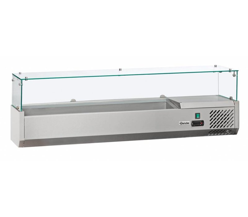 Bartscher Refrigerated Counter with Glass Top - 3 x 1/2 GN or 6 x 1/4 GN - 140x33,5x (H) 44 cm