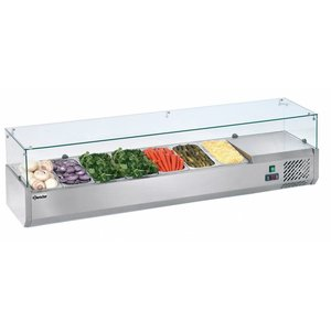 Bartscher Refrigerated Counter with Glass Top - 7x or 14x 1/3 GN 1/6 GN - 180x39,5x (H) 42.5 cm