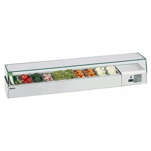 Bartscher Refrigerated Counter with Glass Top - 5x or 10x 1/2 GN 1/4 GN - 200x33,5x (H) 42.5 cm