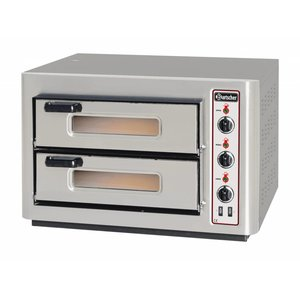 Bartscher Pizza Oven Double Electric | 2x4 pizzas Ø25cm | 400V | 6kW | 800x735x (H) 520mm