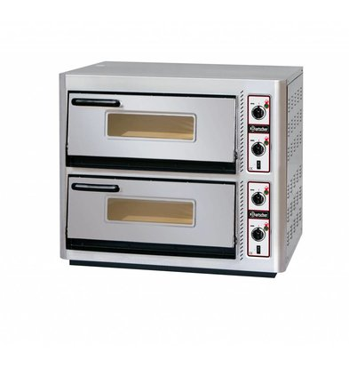 Bartscher Pizza Oven Double Electric | 2 x 4 pizzas Ø30cm | 400V | 10kW | 910x810x (H) 770mm