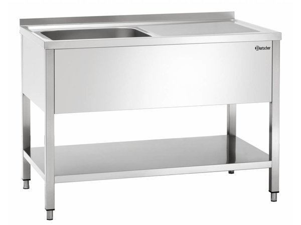 Bartscher Sink - 1 Wanne - 1200x700x850-900 (h) - Ablassen Links - LUXUS Scotch-Brite Polieren