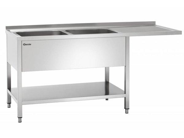 Bartscher Sink two bins - 1800x700x850-900 (h) - Float drainer Right - LUXURIOUS Scotch-Brite Polishing