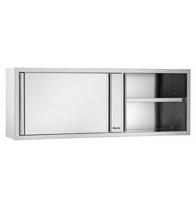 Bartscher Hangkast RVS - met 2 Schuifdeuren - 1 Verstelbaar Tussenschap | 1400(B) | 400(D) | 660(H)mm