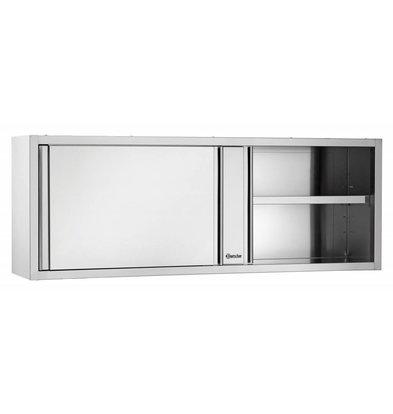 Bartscher Kleiderschrank Edelstahl - mit 2 Schiebetüren - Zwischen 1 verstellbarer Boden | 1600 (B) | 400 (D) | 660 (H) mm