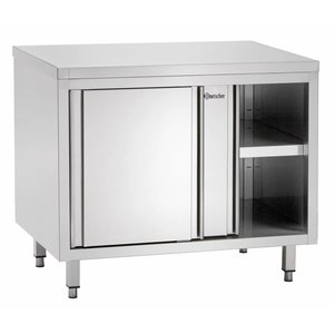 Bartscher Stainless Steel Cupboard with Sliding doors + s Board | 1800x700x (H) 850mm