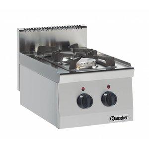 Bartscher 2-burner gas cooker Series 600 | 3,5KW - 6 KW | 400x600x (H) 290mm
