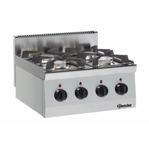 Bartscher 4-burner gas cooker Series 600 | 3,5Kw + 6 Kw | 600x600x (H) 290mm